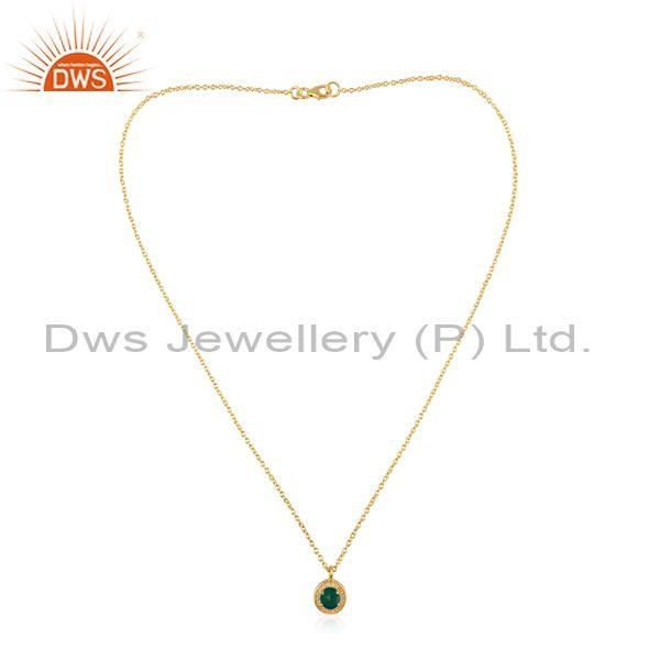 White topaz and green onyx gold on silver pendant and chain