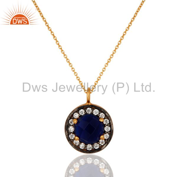 18K Gold Plated 925 Sterling Silver Blue Corundum Gemstone Pendant With Chain