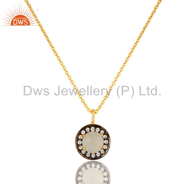 18K Gold Plated Sterling Silver White Moonstone And CZ Drop Pendant With Chain