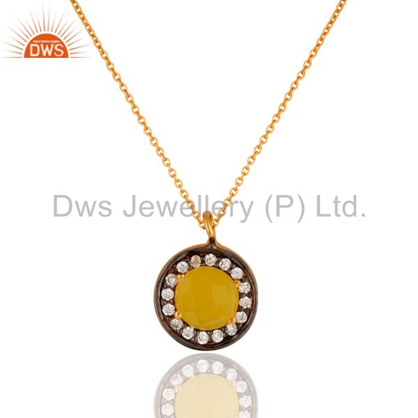 18K Yellow Gold Plated 925 Sterling Silver Yellow Moonstone Pendant Necklace
