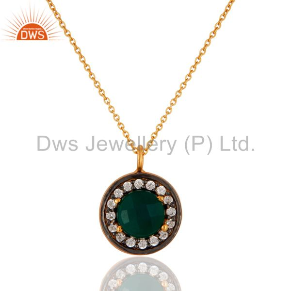 Gold Plated 925 Sreling Silver Green Onyx & CZ Zircon Gemstone Pendant Necklace