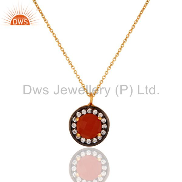 Gold plated 925 sterling silver red onyx gemstone pendant necklace with cz