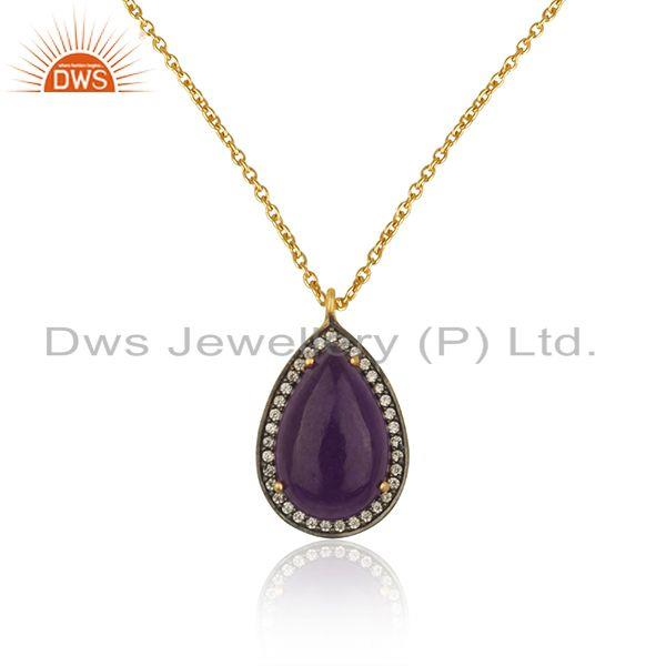92.5 sterling silver gold plated gemstone pendant manufacturer india