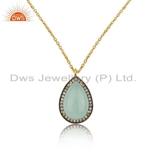 Aqua Chalcedony Gemstone 925 Silver Gold Plated Chain Pendant manufacturer INDia