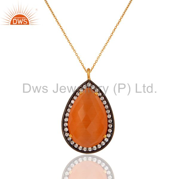 925 Sterling Silver Peach Moonstone & White Zircon Pendant With 22K Gold Plated