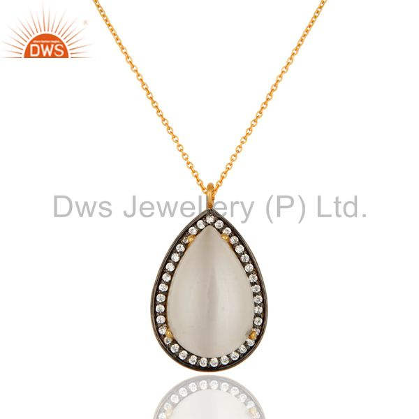 White Moonstone And Cubic Zirconia Fashion Drop Pendant In 18K Gold Over Silver