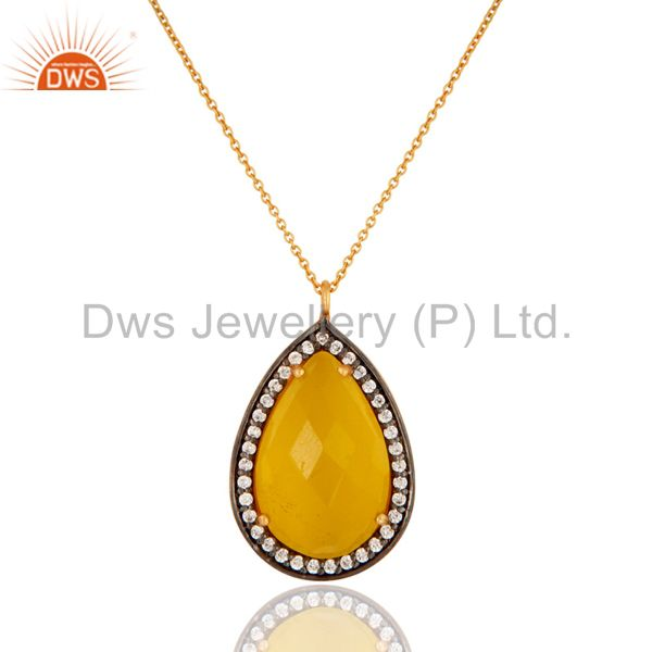 Sterling Silver With Gold Plated Yellow Moonstone & CZ Designer Pendant Chain
