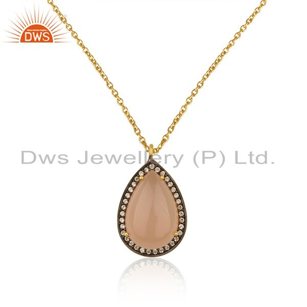 Rose chalcedony gemstone & pave cz pendant made in 18k gold over sterling silver