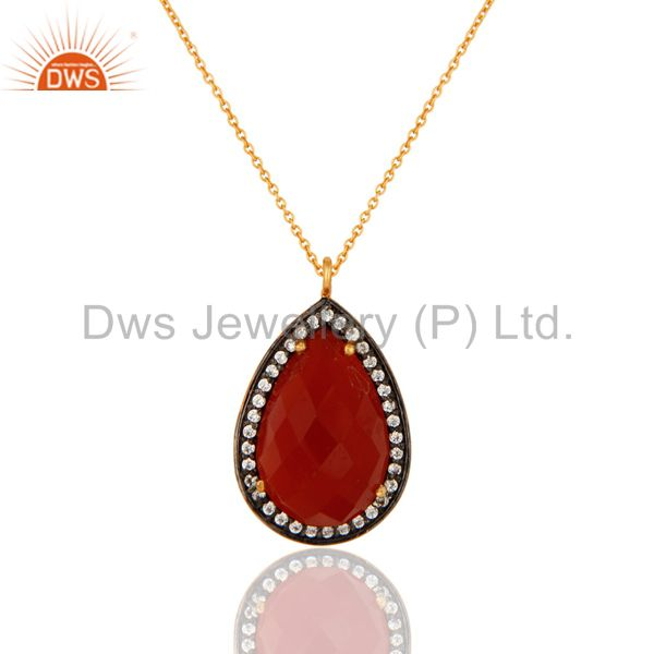 18k gold plated sterling silver natural red onyx gemstone drop pendant with cz