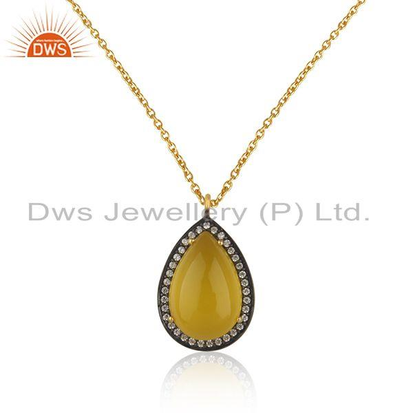 Gold plated 925 silver yellow chalcedony gemstone chain pendant manufacturer