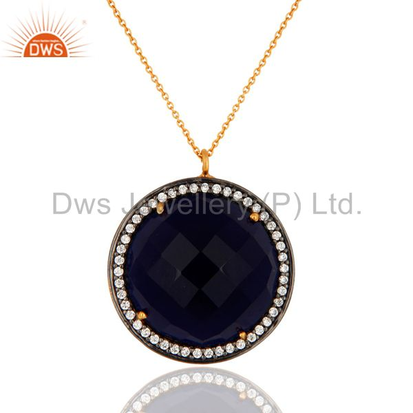 Blue Sapphire Corundum Gemstone Gold Plated 925 Sterling Silver Pendant Necklace