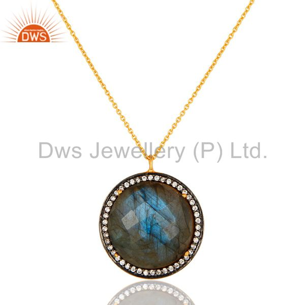 18k gold plated sterling silver natural labradorite gemstone pendant with chain