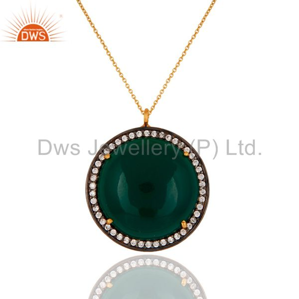 18K Gold On 925 Sterling Silver Green Onyx Gemstone Designer Pendant With Chain
