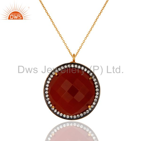 Gold Plated 925 Silver Faceted Red Onyx & CZ Designer Fashion Pendant With CZ