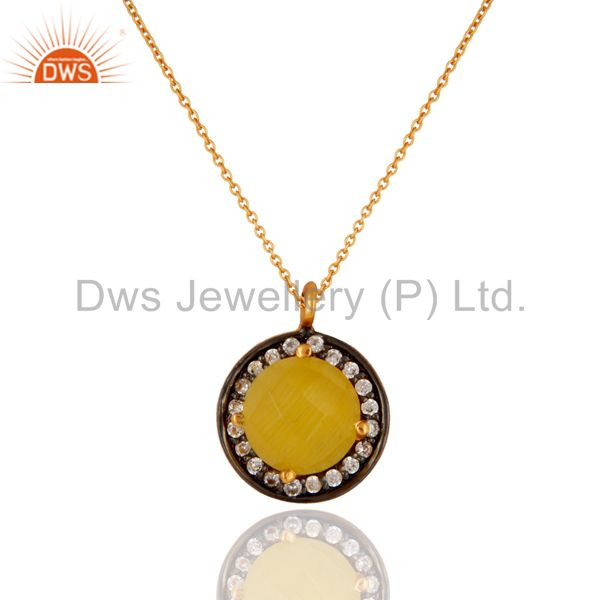 22K Gold Plated 925 Sterling Silver Pave CZ & Yellow Moonstone Pendant Chain