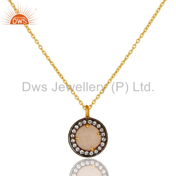 22K Gold Plated 925 Sterling Silver Pave CZ & Rose Chalcedony Pendant Chain