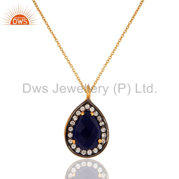 925 Silver Blue Corundum Gemstone Gold Plated Womens Pendant Necklace With CZ