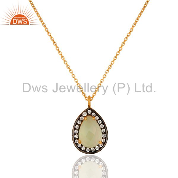 18k Gold-Plated Sterling Silver Chalcedony & CZ Accent Drop Pendant Necklace