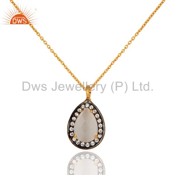 Cubic Zirconia & White Moonstone Necklace Pendant In 18K Gold On Sterling Silver