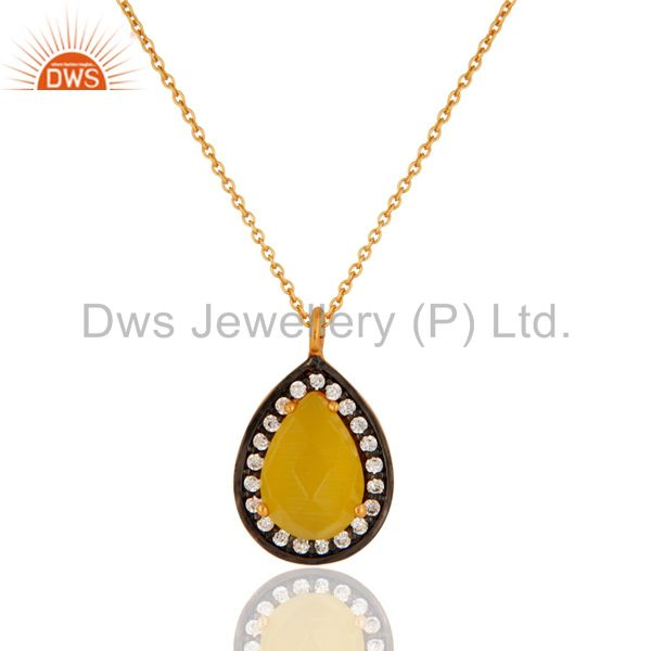 925 Sterling Silver Yellow Moonstone Gemstone Pendant Necklace With Gold Plated