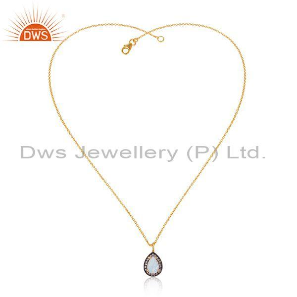Cz, rainbow moon stone set gold on silver pendant and chain