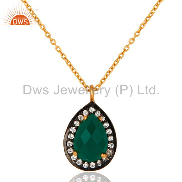Faceted Green Onyx Gemstone Drop Pendant Made In 18K Gold Over Sterling Silver