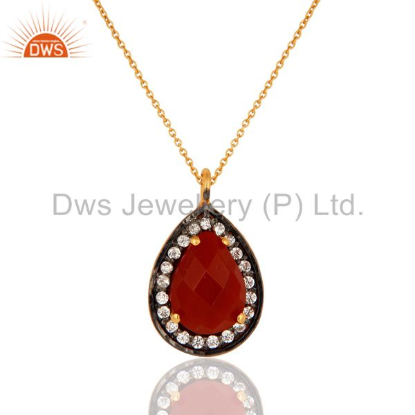 Gold plated 925 silver red onyx gemstone pave cz fashion drop pendant with chain