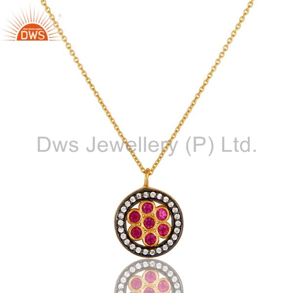 18K Yellow Gold Plated Sterling Silver Red Cubic Zirconia Pendant With Chain