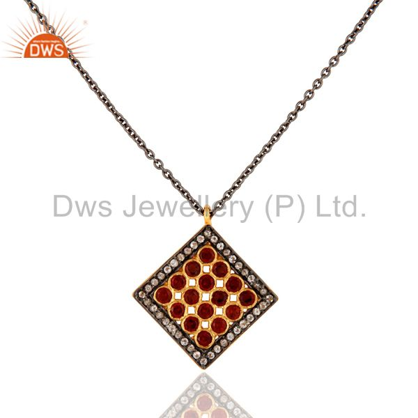 Garnet And White Topaz Pendant With Chain Made In Rhodium Plated Sterling Silver