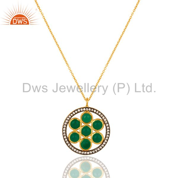 Green Onyx Sterling Silver Designer Pendant With Gold Plated 16