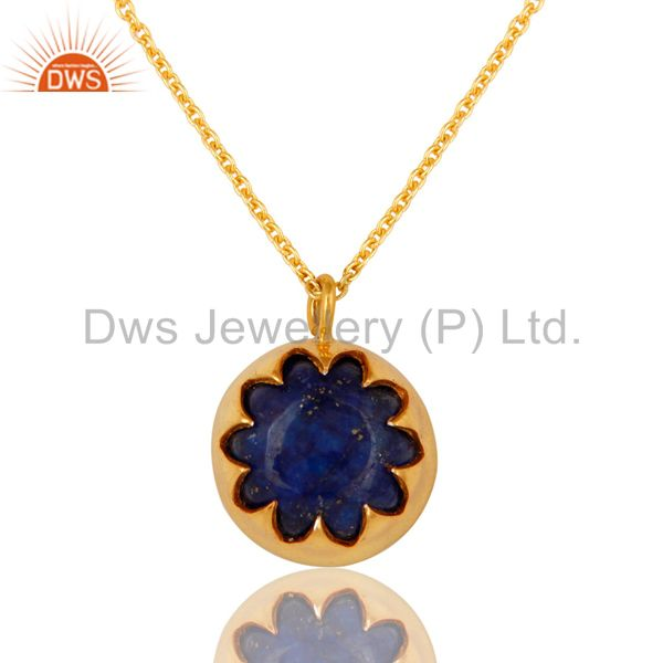 18K Gold Plated Sterling Silver Lapis Lazuli Gemstone Pendant