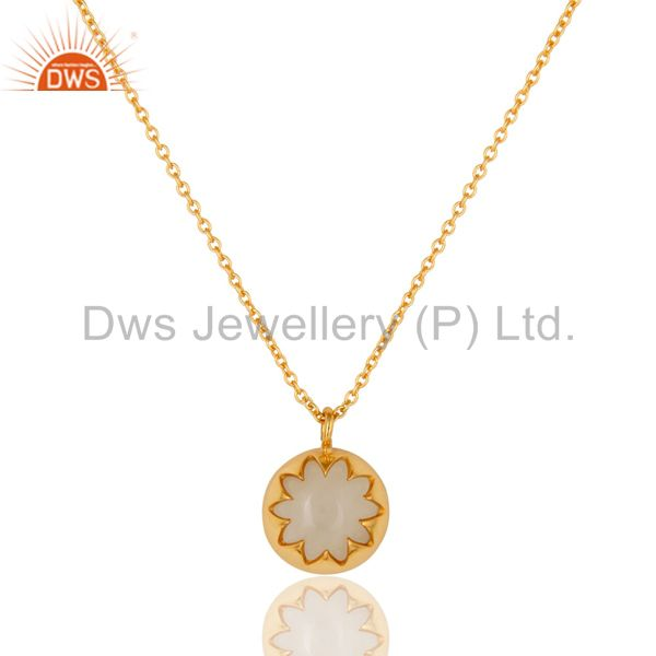 White Moonstone Sterling Silver Designer Pendant Necklace With Gold Plated