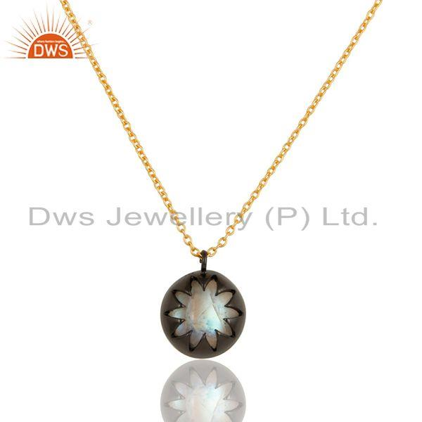 18K Gold Plated & Black Oxidized Sterling Silver Rainbow Moonstone Chain Pendant