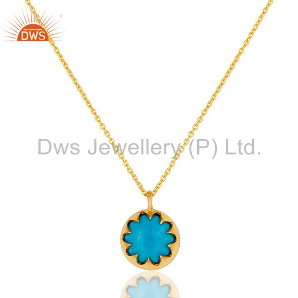 Designer Turquoise Gemstone Pendant Made In 18K Gold Over Sterling Silver