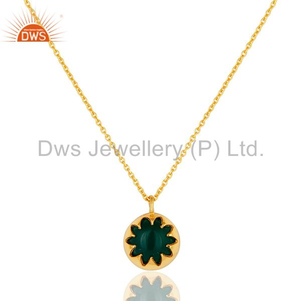 14k gold over sterling silver green onyx gemstone designer pendant with chain