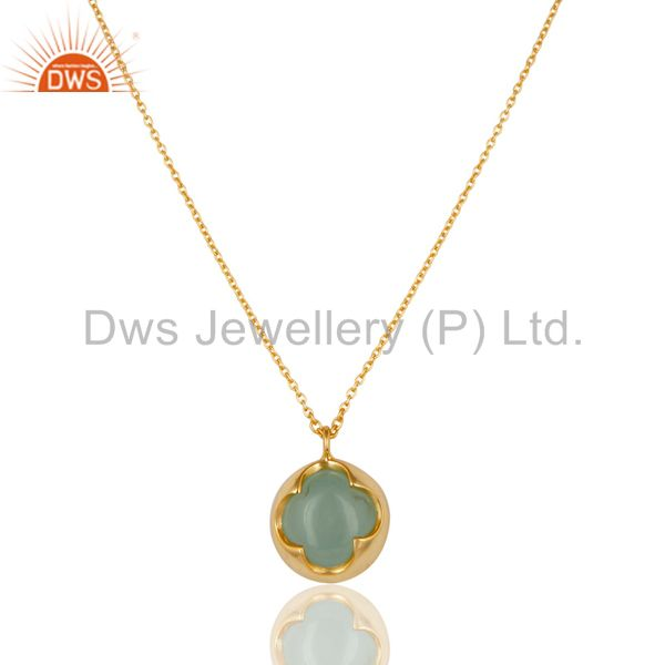 14K Yellow Gold Plated Sterling Silver Handmade Dyed Chalcedony Chain Pendant
