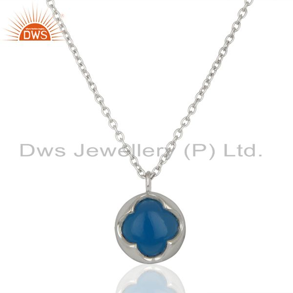 Blue chalcedony gemstone sterling silver chain pendant manufacturer