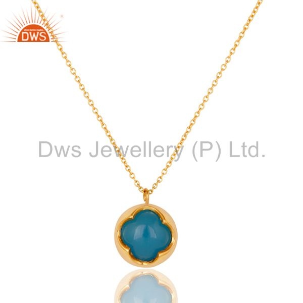 Dyed Blue Chalcedony Gemstone Sterling Silver Pendant With Chain - Gold Plated