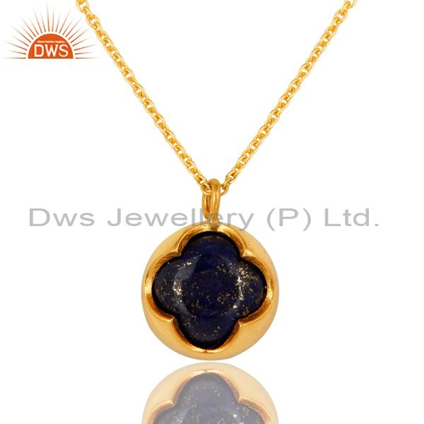 18k gold plated sterling silver lapis lazuli gemstone pendant with chain