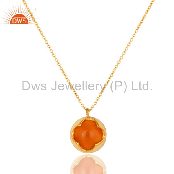 Peach Moosntone Sterling Silver WIth Yellow Gold Plated Pendant With Chain