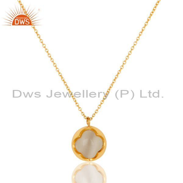 White Moonstone Gemstone Designer Pendant in 18K GOld Over Sterling Silver