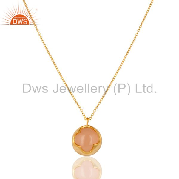 18K Yellow Gold Plated Sterling Silver Rose Chalcedony Designer Chain Pendant