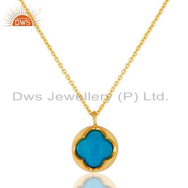 14K Gold Plated Sterling Silver Blue Turquoise Designer Pendant With Chain