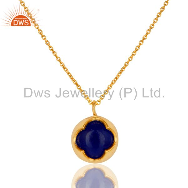 18K Yellow Gold Plated Sterling Silver Blue Aventurine Designer Pendant Necklace