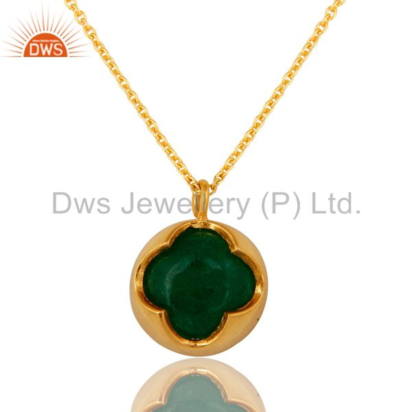 Solid Sterling Silver Green Aventurine Gemstone Pendant Necklace- Gold Plated