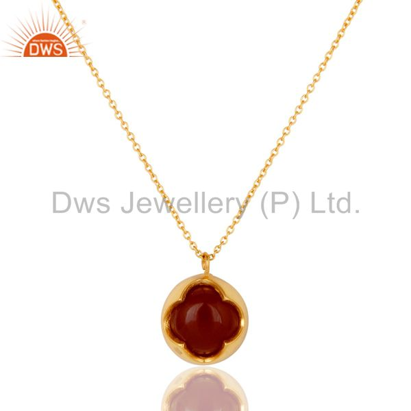 Natural Red Onyx Sterling Silver Designer Pendant Necklace - Yellow Gold Plated