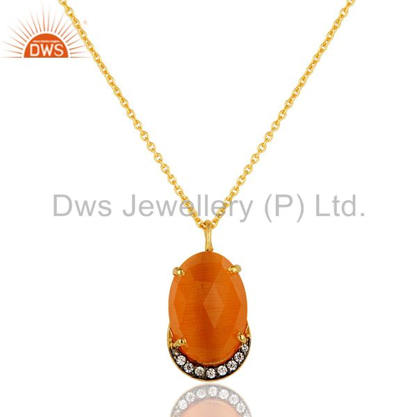 14K Yellow Gold Plated Sterling Silver Peach Moonstone And CZ Pendant With Chain