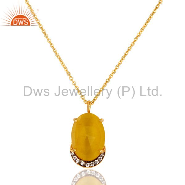 14K Gold Plated Sterling Silver Yellow Moonstone Designer Pendant With Chain