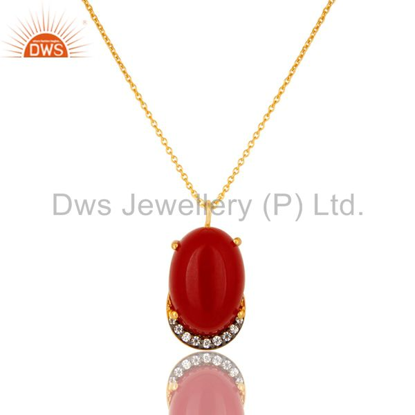 18K Yellow Gold Plated Sterling Silver Red Aventurine And CZ Pendant With Chain