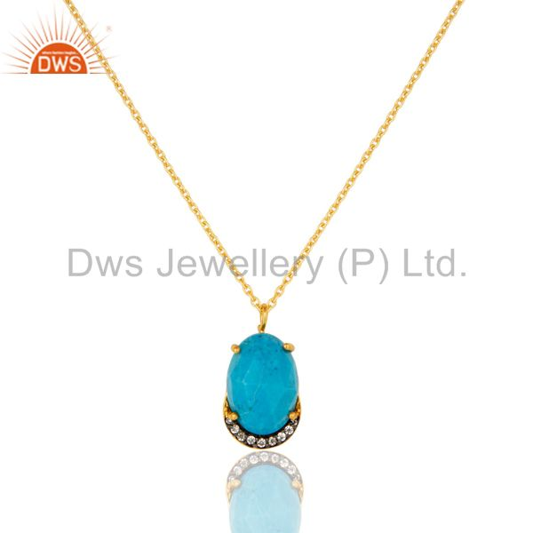 Turquoise & Cubic Zirconia Designer Pendant Made In 18K Gold On Sterling Silver